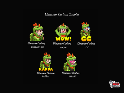 Dinosaur Costum Twitch Emotes amazing characterdesign creative idea daily fun cute heart kappa thumbs up gg wow graphicforstream streamers emoji customemote emoteart design emotes emote twitchemote twitchemotes