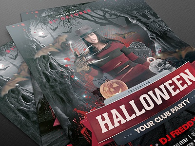 Halloween Flyer Template PSD black blood club dark design disco dj event fear flyer friday grunge halloween horror light madness music night old party poster print pumpkin skull splash template terror typography wood