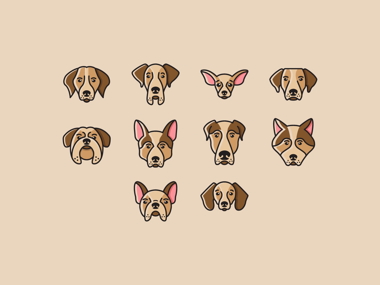 cute dog head Icon filled outline filled iconfinder cute head icon dog