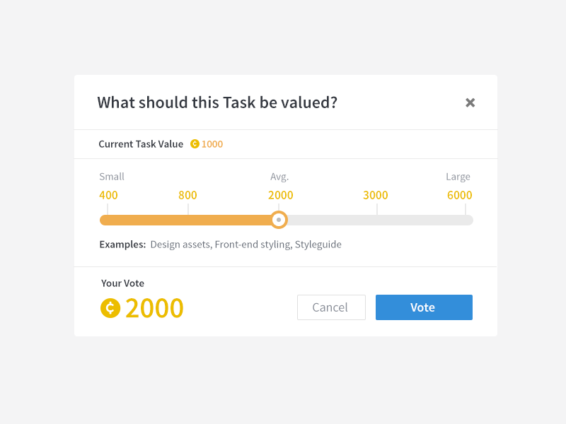 Voting on Tasks (bounties) voting value slider gauge