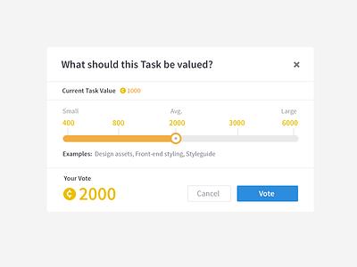 Voting on Tasks (bounties) voting value slider gauge