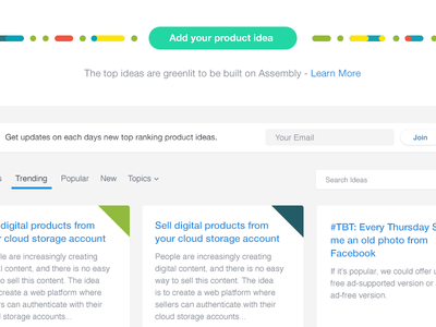 Submit your product ideas assembly tiles personality cards helvetica pills product interface grid