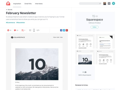 Really Good Emails Detail Page email inspiration resources responsive kits tools detail thumbnails newsletter squarespace