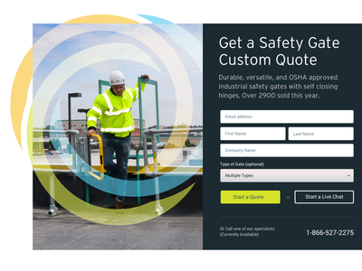 Break that border! landing page imagery quote form grid