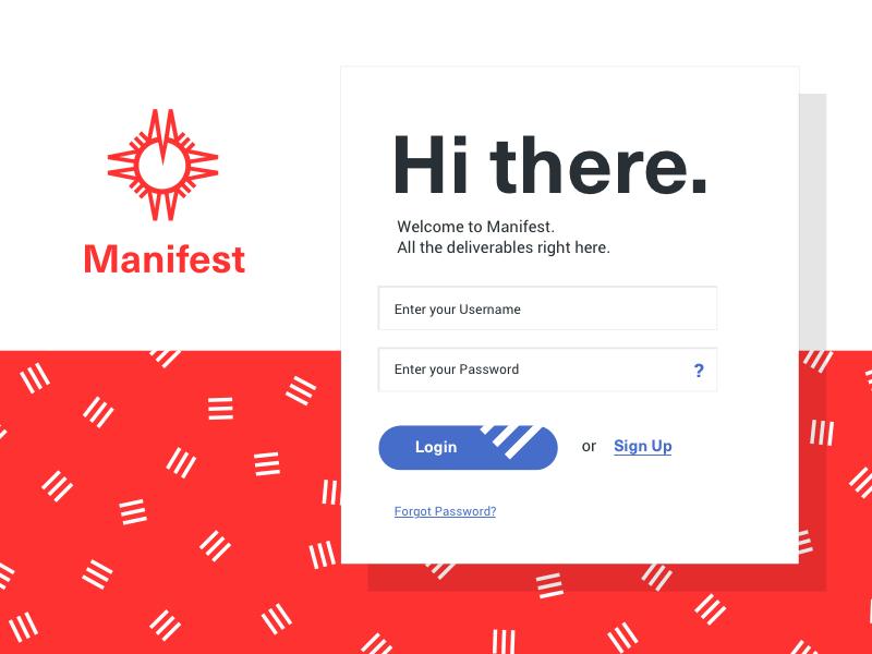 Manifest App Login shadow app files find compass map blue red stripes button form login