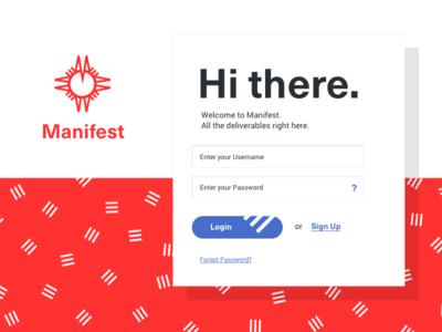 Manifest App Login shadow app files find compass map blue red stripes button form login