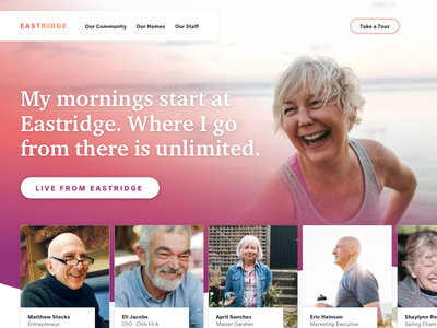 Homepage friendly medical health retirement art-direction comp layout home