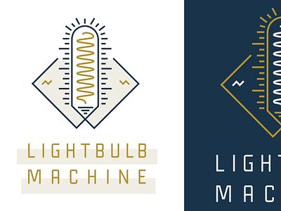Lightbulb Machine lockup lightbulb light industrial timeless retro brand logo lines design