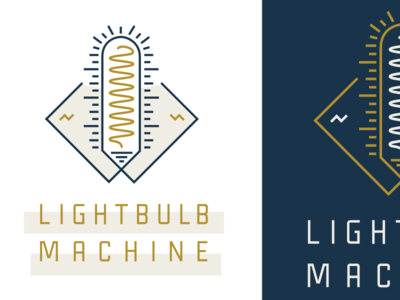 Lightbulb Machine lockup lightbulb light industrial timeless retro brand logo lines design