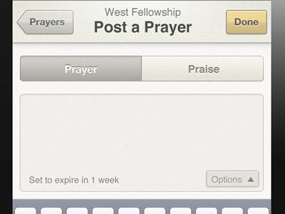 Post a Prayer iphone tabs white texture textarea