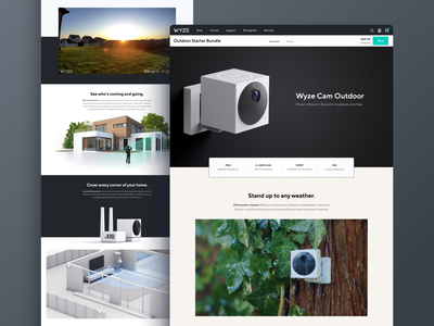 Wyze Cam Outdoor Product Page e-commerce ecommerce ecommerce design product page design product page iot smart home smarthome desktop marketing page landing page landingpage website webdesign clean modern