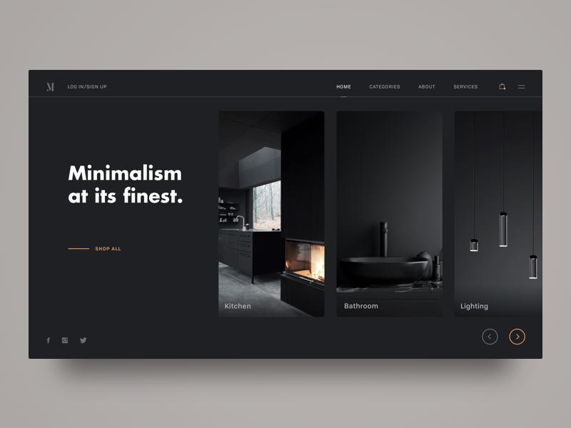 M Interior Design Shop dailyui matte black black modern minimalism interior design dark ui grid inspiration ui ux web whitespace