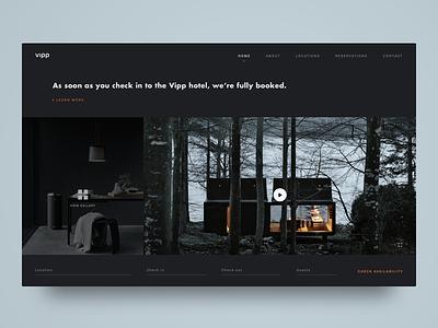 Dark UI Hotel Booking Page whitespace web ux ui inspiration grid dark ui hotel booking minimalism modern black matte black