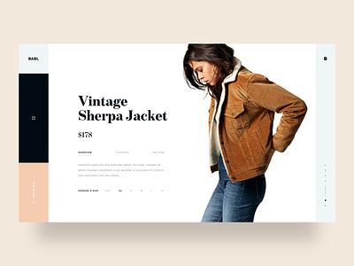 Babl dailyui typography web design inspiration landing page daily ui web ux ui modern minimal lookbook hero grid fw18 brand fashion product detail