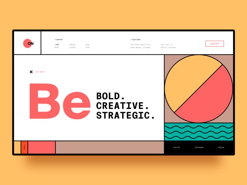 Design Studio - Landing Page mondrian layout typography landing page agency swiss style bauhaus branding daily ui dailyui web design minimalism grid web ux ui