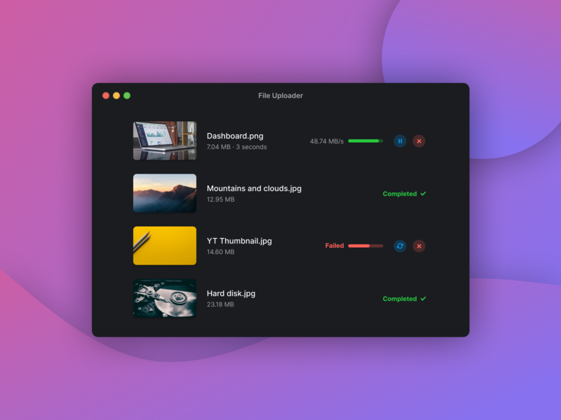 File Uploader Dark version minimalistic app design dark theme dark mode dark app dark ui dark macos upload file uploading uploader upload modal card product design app interface creative ui design