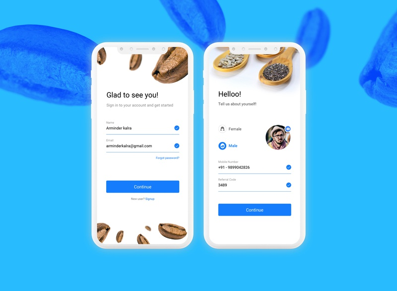 Login & Profile Screens for Grocery online e-Commerce app