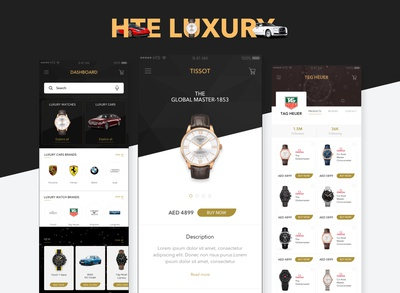 The luxury car & watch App Dashboard/Landing Pages
