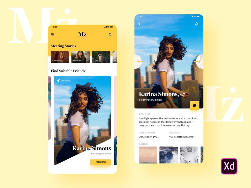 Mz. ios android flat mobile app adobe xd design ui interface