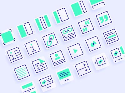 Content element icons quote grid text design graphic design iconography icon design icon set ui design ui illustrator flat icon illustration