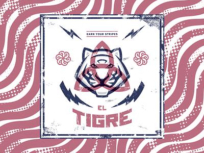 El Tigre vintage photoshop illustrator tiger mascot poster halftones illustration retro