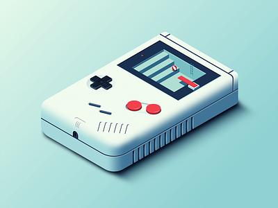 Game Boy skeumorphism retro gameboy isometric vector illustrator illustration