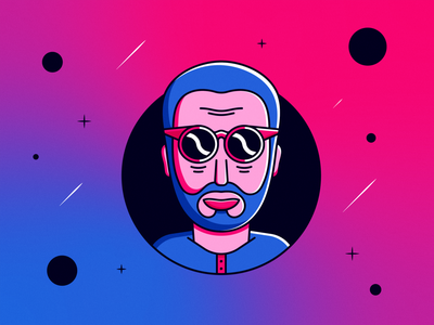 Spaced Out sunglasses space colour flat vector retro illustrator illustration