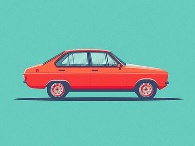 Ford Escort halftones colour vintage car vector flat retro design illustration illustrator