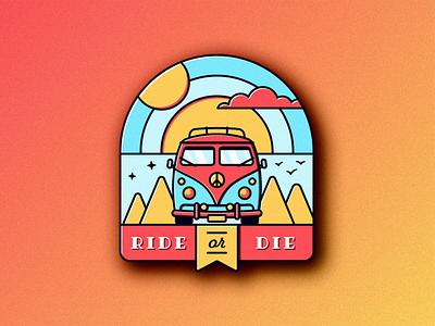 Ride or Die car retro badge vector illustration vector art photoshop volkswagen illustrator