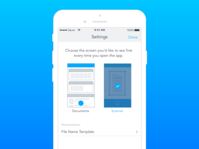 Choose start screen ux ui app ios preferences settings