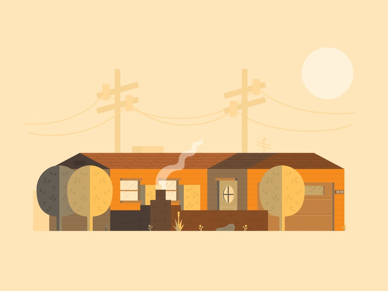 Arizona House texture print orange neighborhood monochromatic lighting illustrator flat illustration house flat desert az arizona architecture