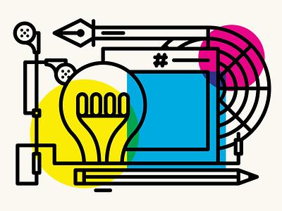 Graphic Design cmyk light bulb idea color wheel swatch pencil pen music design graphic