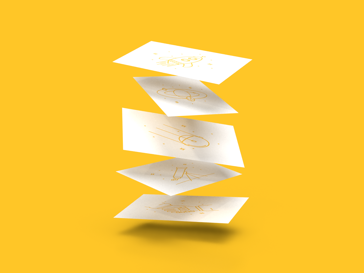 Space Icon Business Cards model render 3d yellow adobe dimension spacesuit spaceman rocketship rocket sun stars satelite handshake star planet telescope galaxy business card icon space