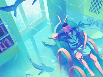 A Dream of Travel river space dream boys illustration painting