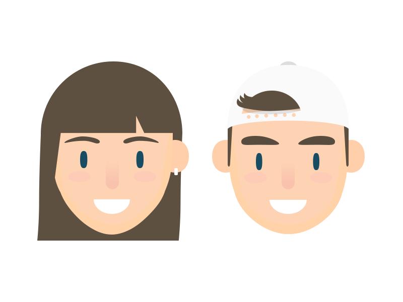Default Avatars head user girl boy character avatar novel app icon ui