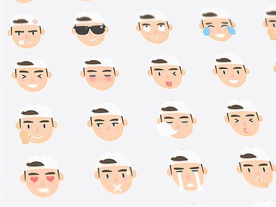 Emoji Set emoticons illustrator angry tired shy excited set icon emotion sticker character emoji