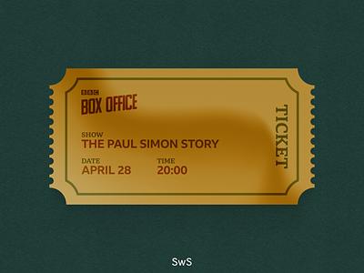 BBC Box Office - Golden Ticket skeuomorphic ui shine ticket golden ux design