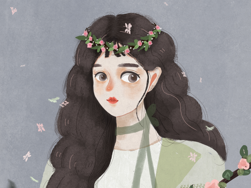 flower & girl illustration