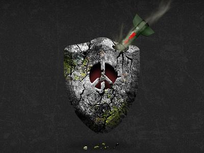 For Peace no war rock shield peace