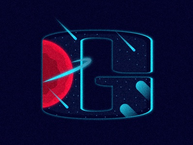G - Galaxy [36daysoftype2020] rings planet stars sky glow space color design vector illustration