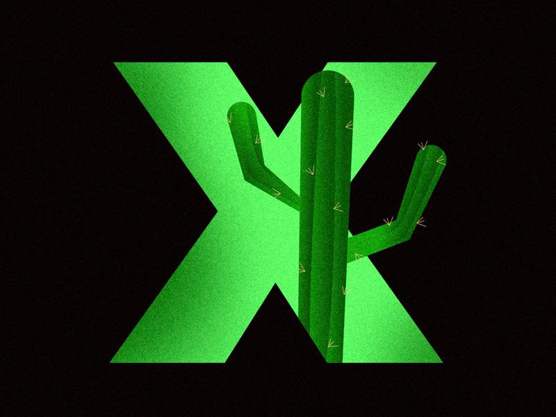 X - Xerophyte [36daysoftype2020] type green cactus x letter alphabet 36daysoftype07 36daysoftype typography color vector illustration