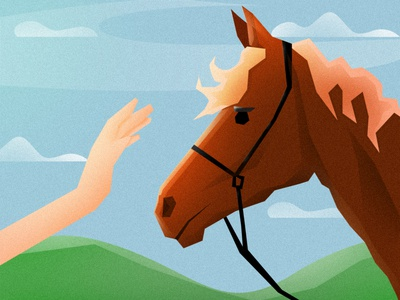 Reunion pet brown animals touch hand brushes design vector illustration horse
