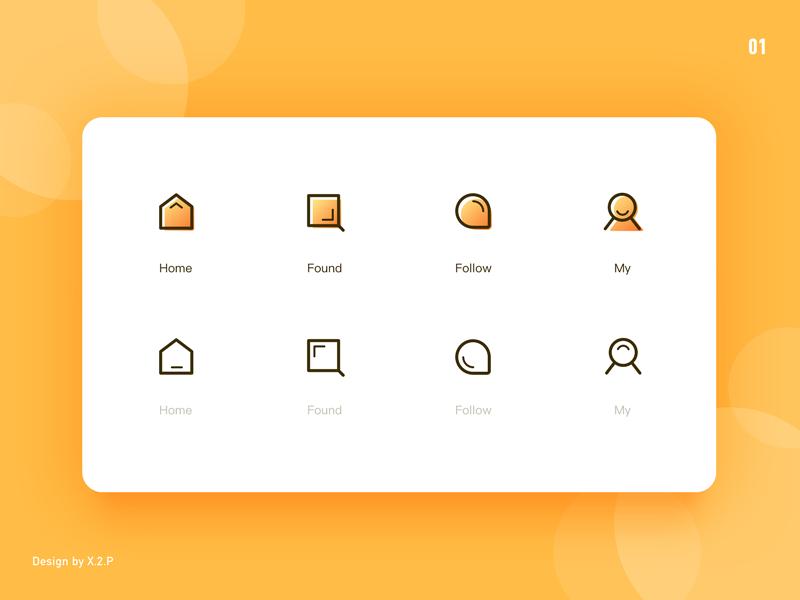 Tabbar Icon my follow found home linear icon tabbar sketch design icon