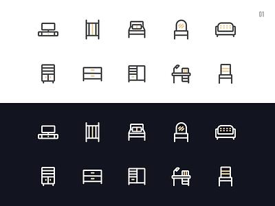 01 day - Furniture Icon cabinet bed desk sofa furniture illustration design icon