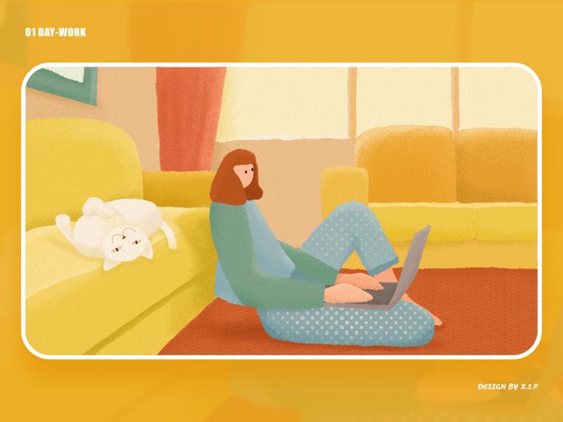 01 day - Work work girl design cat illustration