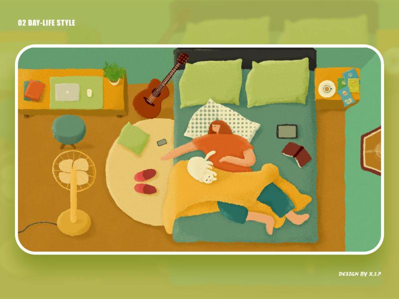 02 day-life style home sleep lifestyle illustration design