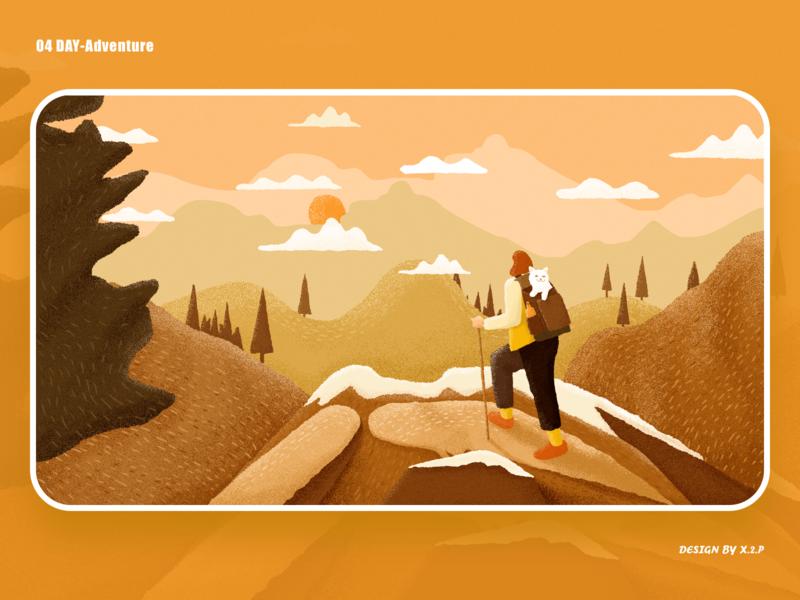 04 Day -Adventure tree backpack sunset autumn mountain climb illustration design