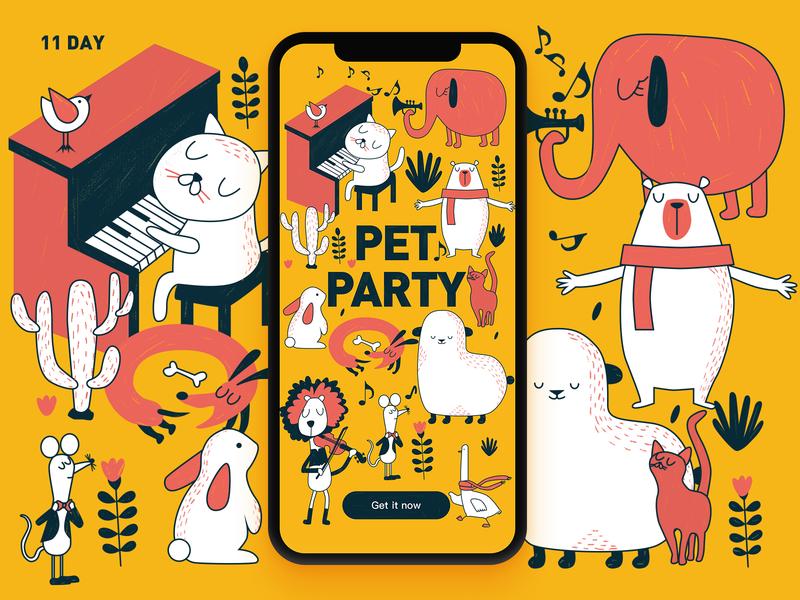 11 Day-pet party music dog duck lion mouse cat bear sheep elephant pet splash screen app illustration