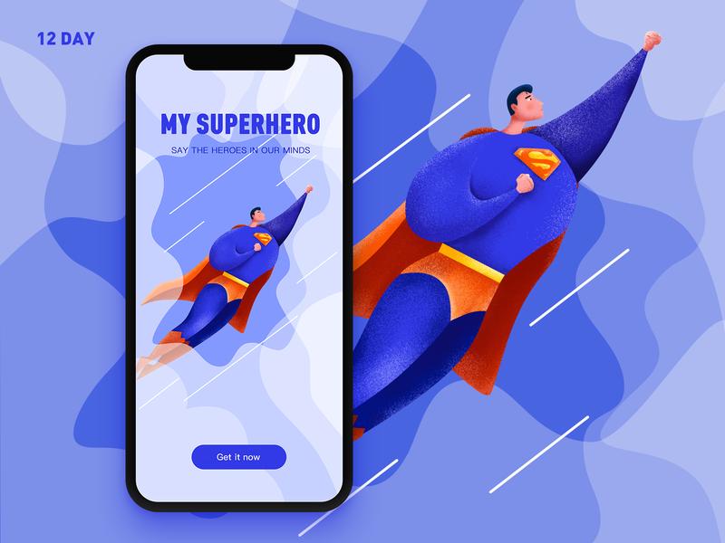 12 Day-my superhero splash screen superman superhero ui app design illustration