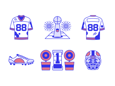 Football Icons (Part 2) cleats helmet first down sports nfl superbowl lombardi trophy jersey football